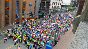 This was taken from our apartment in Pittsburgh during the opening ceremonies of the marathon. Congrats to all the runners!