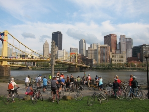OPA's 2013 Bike Tour on the Northshore | photo courtesy of the Pittsburgh Office of Public Art